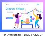 girls prepare a surprise party  ... | Shutterstock .eps vector #1537672232