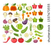 vegetables food slice icon set... | Shutterstock .eps vector #1537673555