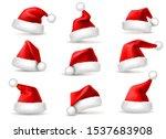 Realistic santa hats. Santa claus christmas holiday caps, celebration fluffy plush cute red winter headwear costume, 3d isolated vector xmas december headdress set