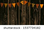 halloween bunting on dark wood...   Shutterstock .eps vector #1537734182