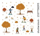 Stock vector people in the autumn park having fun with umbrella mobile walking with the dog riding scooter 1537758395