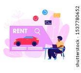 car rental webpage. woman using ...