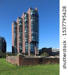 Small photo of MANCHESTER, ENGLAND - SEPTEMBER 21, 2019: Modern high rise building on Pollard street in the city centre of Manchester, England