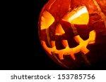 Stock photo halloween old jack o lantern on black background 153785756