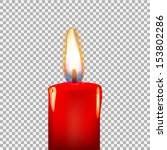 Burning Candle On A Transparen...