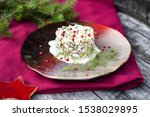 Stock photo herring tartar with mayonaise red pepper and dill 1538029895