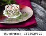 Stock photo herring tartar with mayonaise red pepper and dill 1538029922