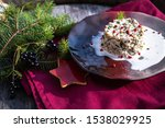 Stock photo herring tartar with mayonaise red pepper and dill 1538029925