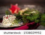 Stock photo herring tartar with mayonaise red pepper and dill 1538029952