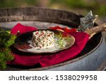 Stock photo herring tartar with mayonaise red pepper and dill 1538029958