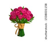 bouquet of peonies or roses... | Shutterstock .eps vector #1538031158