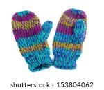 pair of colored knitted mittens.... | Shutterstock . vector #153804062