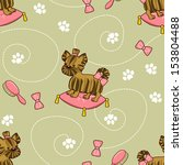 seamless pattern with puppies.... | Shutterstock .eps vector #153804488