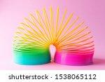 Toy Plastic Rainbow On A Pastel ...