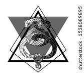 tattoo two snakes. traditional... | Shutterstock .eps vector #1538089895
