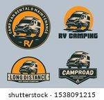 set of camper van logo  emblems ... | Shutterstock .eps vector #1538091215