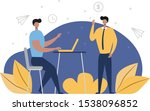 men are discussing working... | Shutterstock .eps vector #1538096852