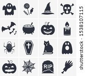 halloween icon set vector.... | Shutterstock .eps vector #1538107115