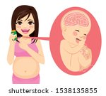 young pregnant mother holding... | Shutterstock .eps vector #1538135855