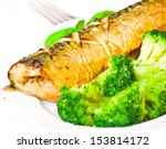 grilled fish with broccoli | Shutterstock . vector #153814172