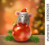 Young Rat In The Red Santa Hat...