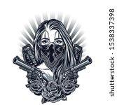 gangster girl fashion... | Shutterstock . vector #1538337398