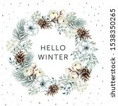christmas wreath with text... | Shutterstock .eps vector #1538350265