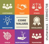 core values concept with icons... | Shutterstock .eps vector #1538402708