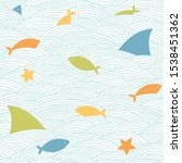 shark fins  fishes  starfishes... | Shutterstock .eps vector #1538451362