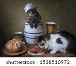Two Cats On The Kitchen Rustic...