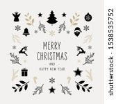 christmas icon elements border... | Shutterstock .eps vector #1538535752