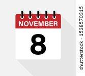 November 8 Calendar Vector Icon