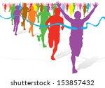 colourful race winner | Shutterstock . vector #153857432