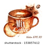 cup drawn pour cup lettering... | Shutterstock .eps vector #153857612