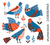 collection of birds and flowers ... | Shutterstock .eps vector #1538583965
