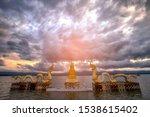 beautiful sunset at golden... | Shutterstock . vector #1538615402