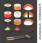 food. colorful sushi rolls set...   Shutterstock .eps vector #1538642675