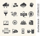big data icons set | Shutterstock .eps vector #153865112