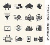 big data icons set | Shutterstock .eps vector #153865112