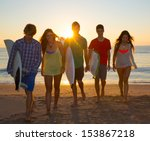 surfers teen boys and girls... | Shutterstock . vector #153867218