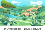 country landscape illustration... | Shutterstock .eps vector #1538758205