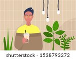 young male character holding a...   Shutterstock .eps vector #1538793272