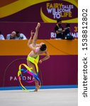Small photo of BAKU, AZERBAIJAN -16-22 SEPTEMBER, 2019: 37th FIG Rhythmic Gymnastics World Championships, Individual Apparatus Qualification, BARBARA DOMINGOS (BRA) Ribbon