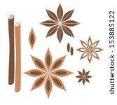Cinnamon. Icon Set. Isolated...