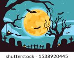 halloween poster with pumpkin ... | Shutterstock .eps vector #1538920445