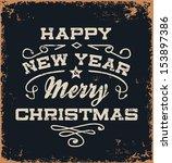 vintage vector christmas card | Shutterstock .eps vector #153897386