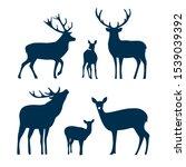 Deer Silhouette Set. Vector...