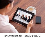 close up of woman looking at...   Shutterstock . vector #153914072