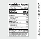 label nutrition facts. food... | Shutterstock .eps vector #1539158222