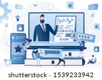 big laptop with business... | Shutterstock .eps vector #1539233942